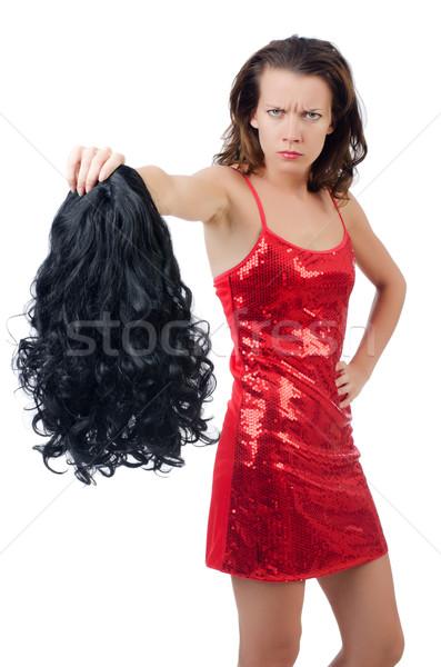 Donna parrucca isolato bianco texture capelli Foto d'archivio © Elnur