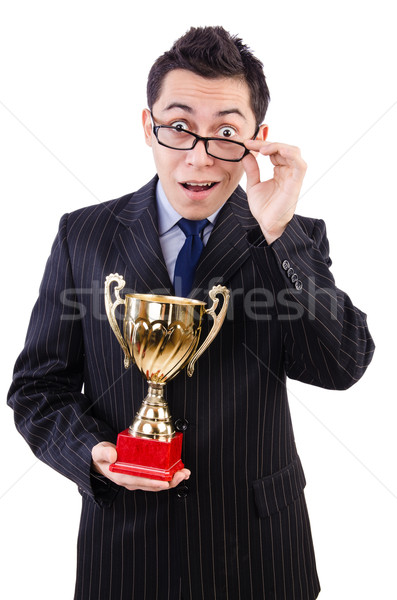 Man awarded with cup isolated on white Stock photo © Elnur