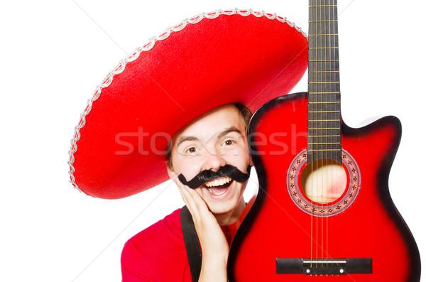Stock fotó: Mexikói · gitáros · izolált · fehér · buli · gitár