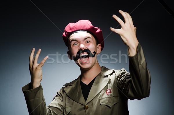 Grappig soldaat militaire man achtergrond veiligheid Stockfoto © Elnur