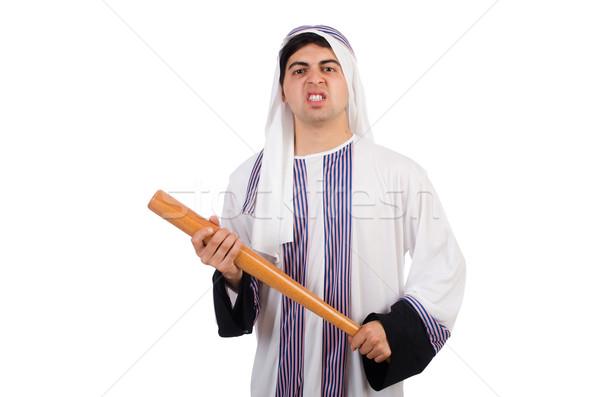 árabes hombre bate de béisbol aislado blanco negocios Foto stock © Elnur