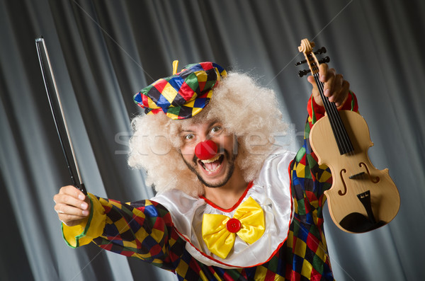 Funny clown skrzypce kurtyny muzyki uśmiech Zdjęcia stock © Elnur