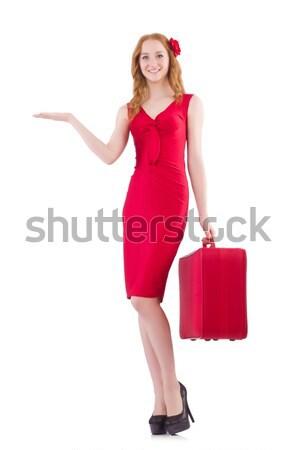 Donna vestito rosso viaggio caso isolato bianco Foto d'archivio © Elnur