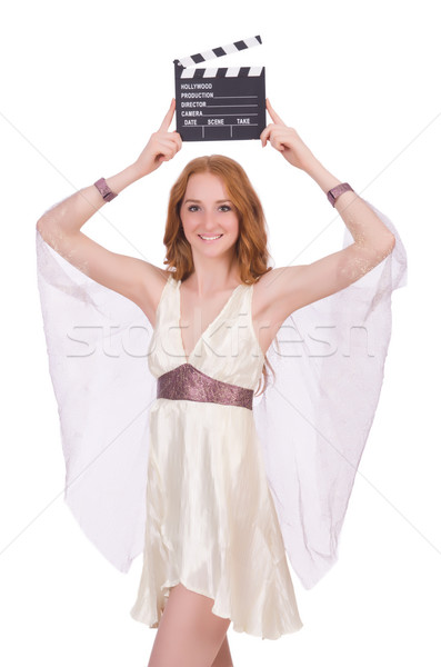 Ancient goddess with clapperboard  isolated on white Stock photo © Elnur