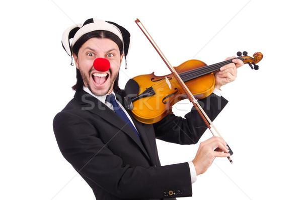 Vicces bohóc üzletember izolált fehér üzlet Stock fotó © Elnur