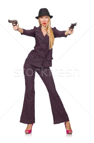 Jonge vrouw gangster pistool witte vrouw sexy Stockfoto © Elnur