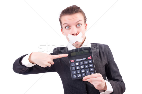 Woman with calculator in fraud concept isolated on white Stock photo © Elnur