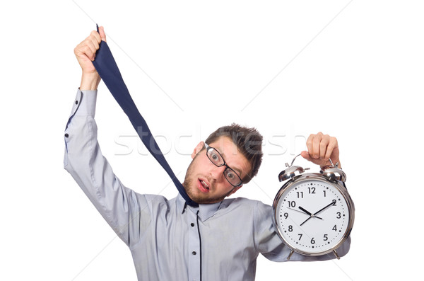 Homme horloge répondre date limite isolé homme blanc Photo stock © Elnur