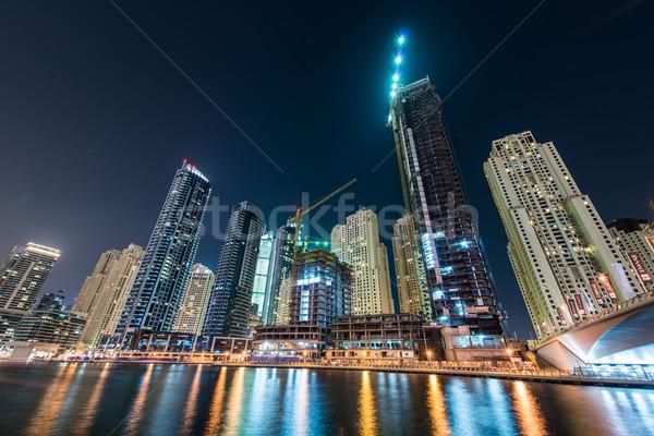 Dubaï marina gratte-ciel nuit ciel eau Photo stock © Elnur