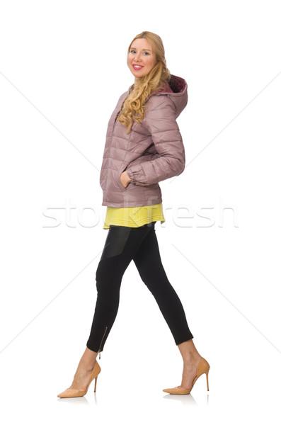 Foto stock: Bastante · mulher · jovem · amarelo · blusa · isolado · branco