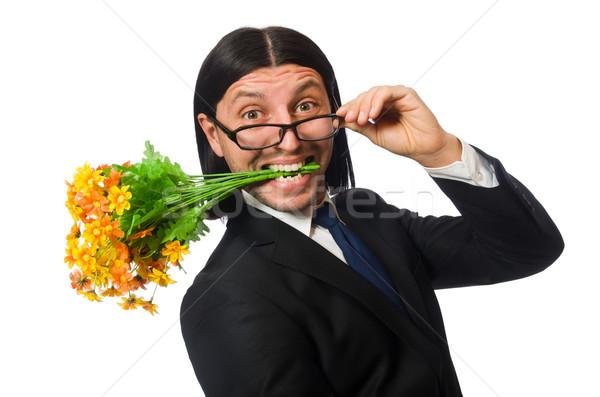 Jóképű üzletember virág rövid tok izolált Stock fotó © Elnur