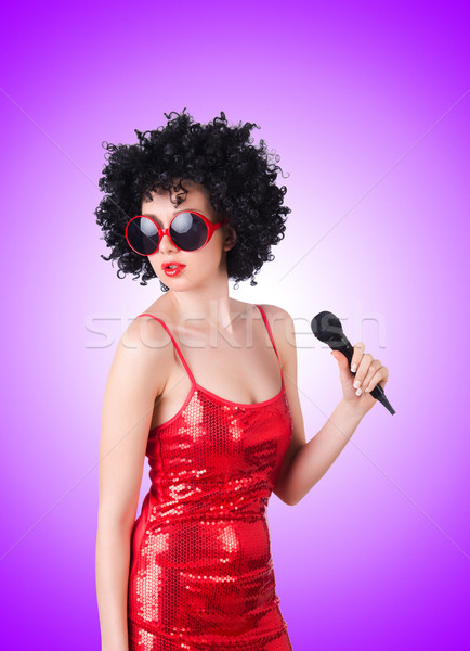 Foto stock: Pop · estrellas · vestido · rojo · gradiente · fiesta · feliz