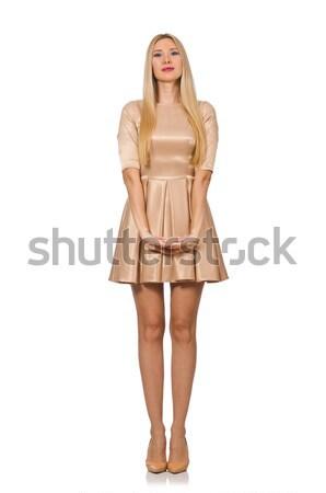 Csinos lány szatén mini ruha izolált Stock fotó © Elnur