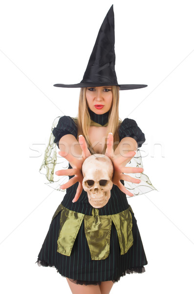 Beautiful witch with skull isolated on white Stock photo © Elnur