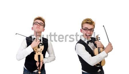Vicces hegedű játékos izolált fehér férfi Stock fotó © Elnur