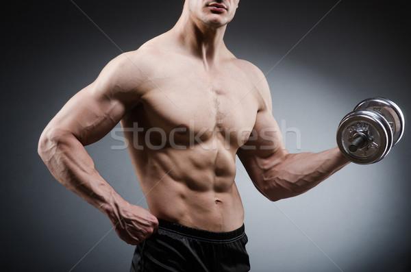 Muskularny kulturysta hantle sportu fitness zdrowia Zdjęcia stock © Elnur