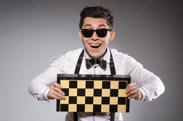 Vicces sakk játékos tábla fa asztal Stock fotó © Elnur