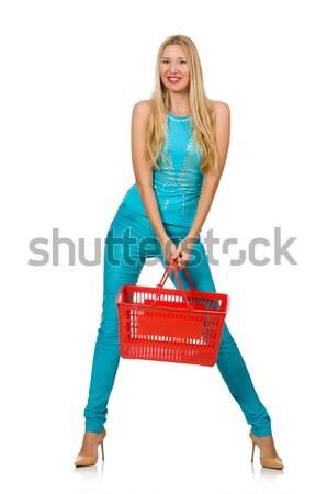 Nő bevásárlókosár izolált fehér boldog háttér Stock fotó © Elnur