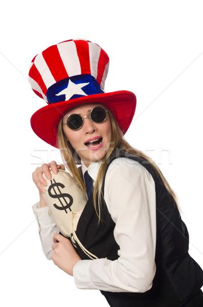 Woman with money sacks isolated on white Stock photo © Elnur