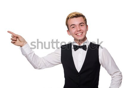 Young man in black classic vest isolated on white Stock photo © Elnur