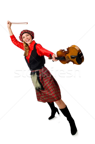 Funny woman in scottish clothing with violin Stock photo © Elnur