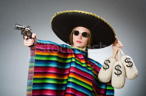 девушки мексиканских пистолет деньги красоту Сток-фото © Elnur