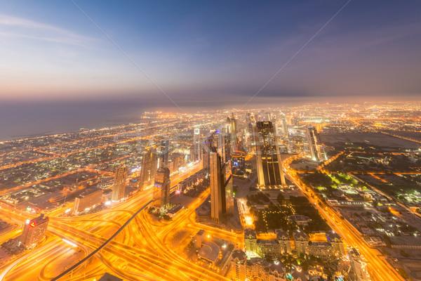 Panorama notte Dubai tramonto business ufficio Foto d'archivio © Elnur