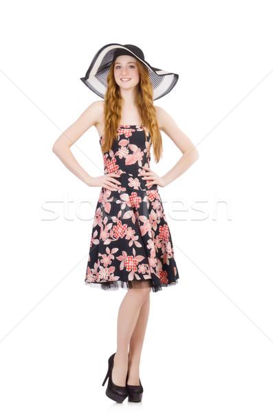Fiatal nő divat modell nyár fehér póló Stock fotó © Elnur