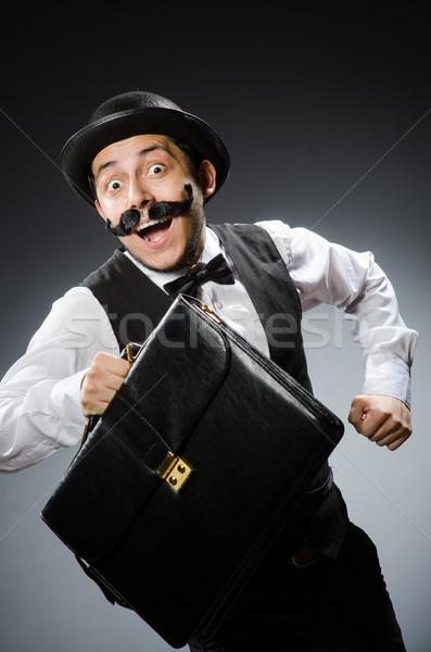 Vicces férfi klasszikus boldog munka üzletember Stock fotó © Elnur