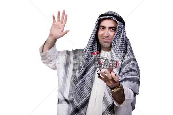 アラブ 男 ショッピングカート 孤立した 白 ビジネス ストックフォト © Elnur