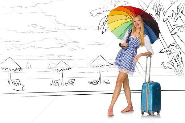 Jonge vrouw tropisch eiland reizen strand zon Stockfoto © Elnur