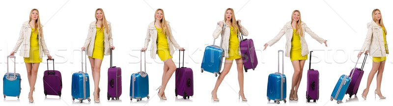 Nő vakáció bőrönd fehér boldog háttér Stock fotó © Elnur
