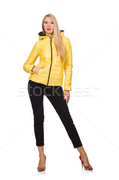Caucasian woman in yellow jacket isolated on white Stock photo © Elnur