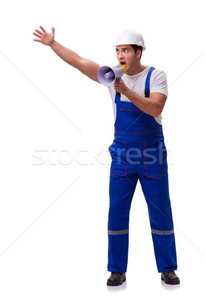 Homem megafone isolado homem branco branco negócio Foto stock © Elnur