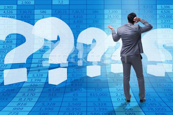 Empresario incertidumbre signos de interrogación Trabajo éxito pensando Foto stock © Elnur
