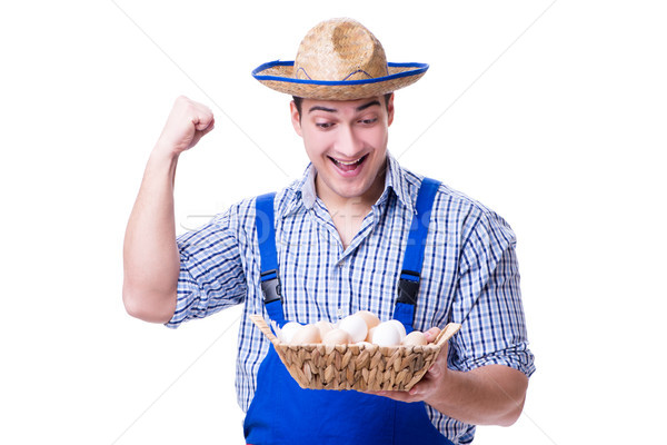 Man with a straw hat and eggs Stock photo © Elnur