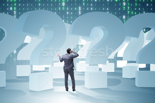 Zakenman onzekerheid vraagtekens teken werknemer toekomst Stockfoto © Elnur