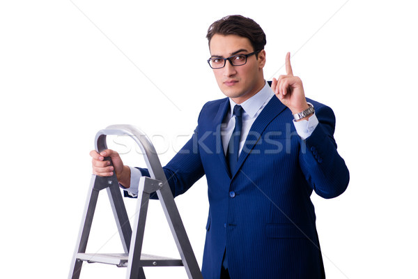 Zakenman top ladder geïsoleerd witte gebouw Stockfoto © Elnur