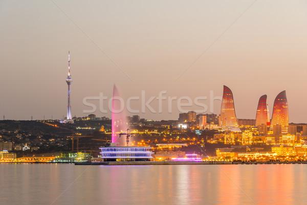 Noc widoku Azerbejdżan wygaśnięcia morza Świt Zdjęcia stock © Elnur