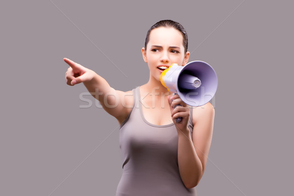 Donna sport altoparlante salute palestra speaker Foto d'archivio © Elnur