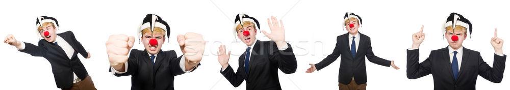 Kollázs bohóc üzletember izolált fehér buli Stock fotó © Elnur