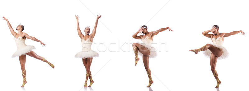 Man in ballet tutu isolated on white Stock photo © Elnur