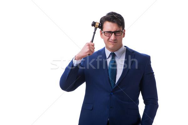 Advocaat recht student hamer geïsoleerd witte Stockfoto © Elnur