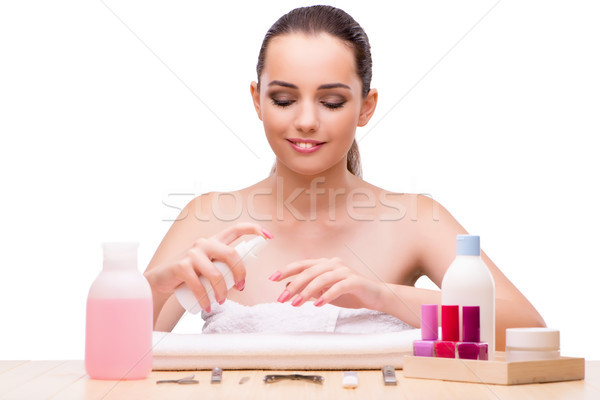 Young woman in beauty concept isolated on white Stock photo © Elnur
