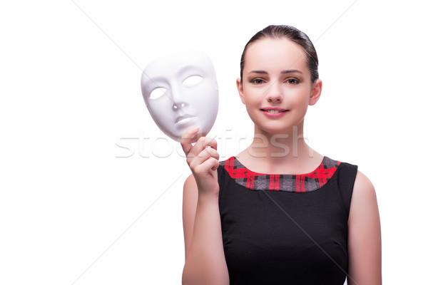 Młoda kobieta maska odizolowany biały tle sztuki Zdjęcia stock © Elnur