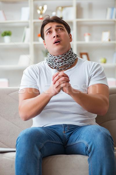 Fiatalember szenvedés torokfájás arc férfi otthon Stock fotó © Elnur