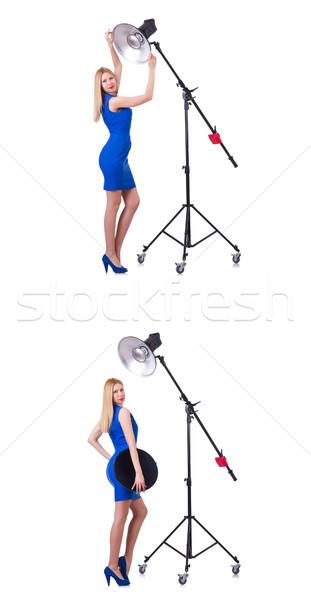 Stock fotó: Fiatal · modell · stúdió · nő · arc · fény
