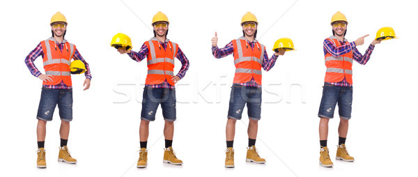 Young construction worker in helmet and briefs isolted on white Stock photo © Elnur