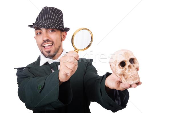 Сток-фото: молодые · детектив · изолированный · белый · глаза · лице