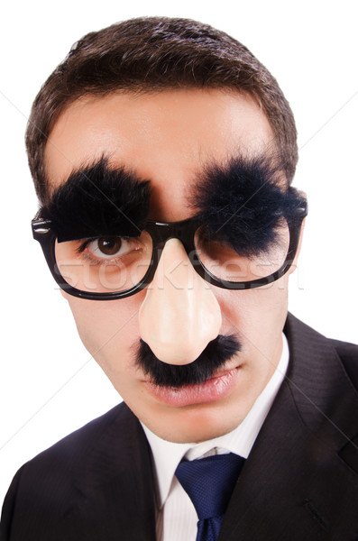 Funny businessman with eyebrows and moustache Stock photo © Elnur